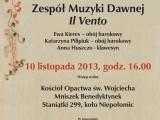 """Koncert Zespołu Muzyki Dawnej """"Il Vento"""" w Staniątkach"""